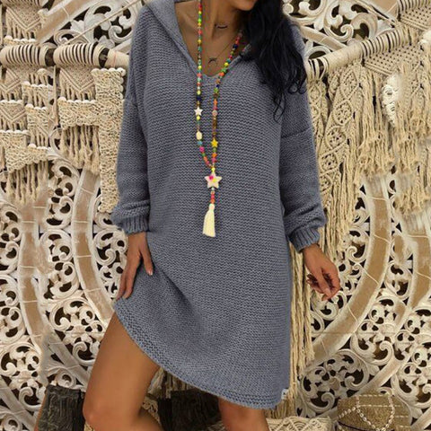 Hooded Loose Casual Knit Sweater Dress