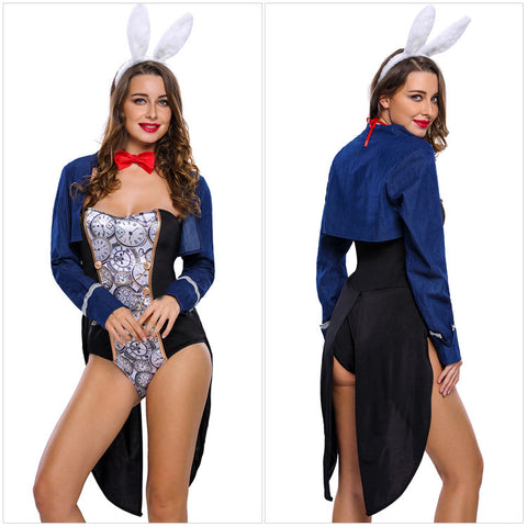 Halloween Stage Costumes Sexy Bunny Dresses 4 Pieces Of Tight Long Sleeve Jumpsuit