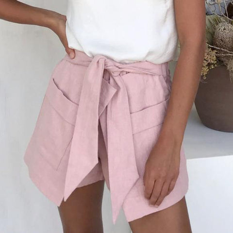 Fashion Wild Solid Color Bow Shorts