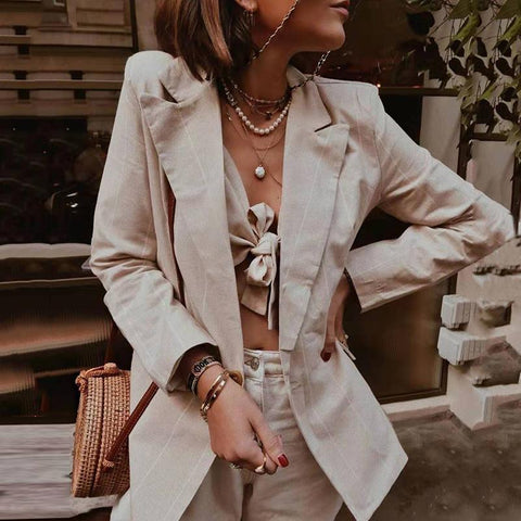 Women's Fashion Long Sleeve Tailored Collar Stripe Blazer