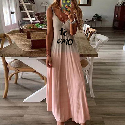 Casual Deep V Neck Soft Gradient Printed Letters Long Dress