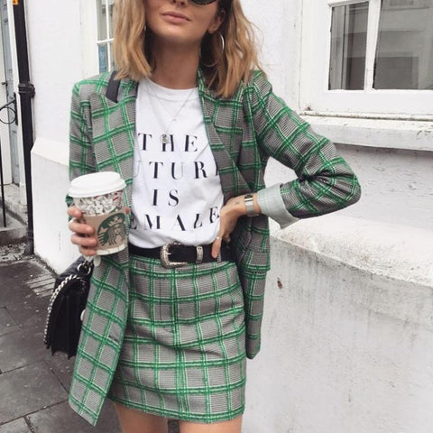 Casual Plaid Long Sleeve Blazer And Shorts Suit