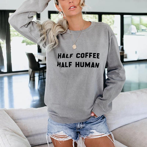 Round Neck Cotton Long Sleeve Regular Loose Sweatshirt