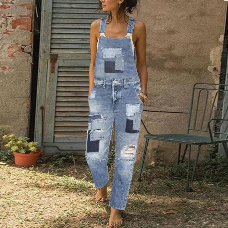 Casual Splicing Loose Broken Hole Jumpsuit Jeans