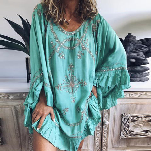 Casual Round Neck Bell Sleeve Ruffled Dress