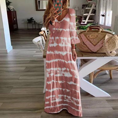 Casual Loose Deep V Neck Long Sleeve Printed Long Dress