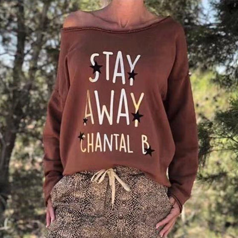 Casual Solid Color Letter Printed Long Sleeve Stitching Sweatshirt