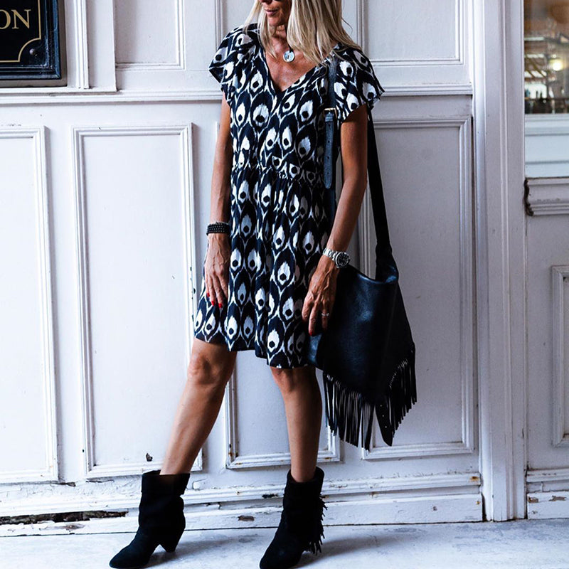 Fashion V-Neck Short-Sleeved Print Dress