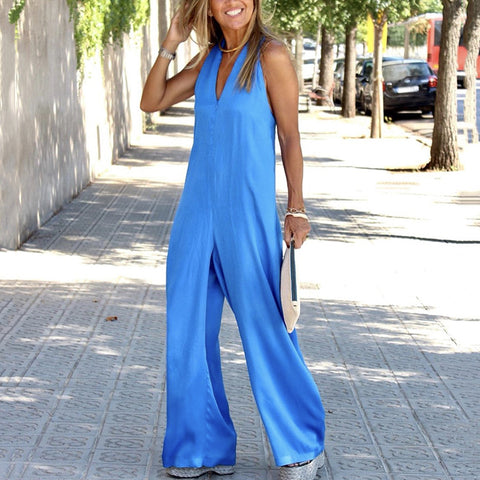 Casual V Neck Sleeveless Pure Colour Jumpsuit