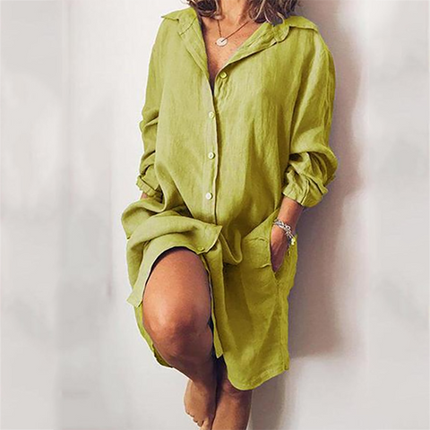 Casual Solid Color Button Turndown Collar Dress