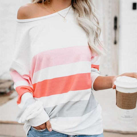 Casual Sloping Shoulder Long Sleeve Contrast Color T-Shirt