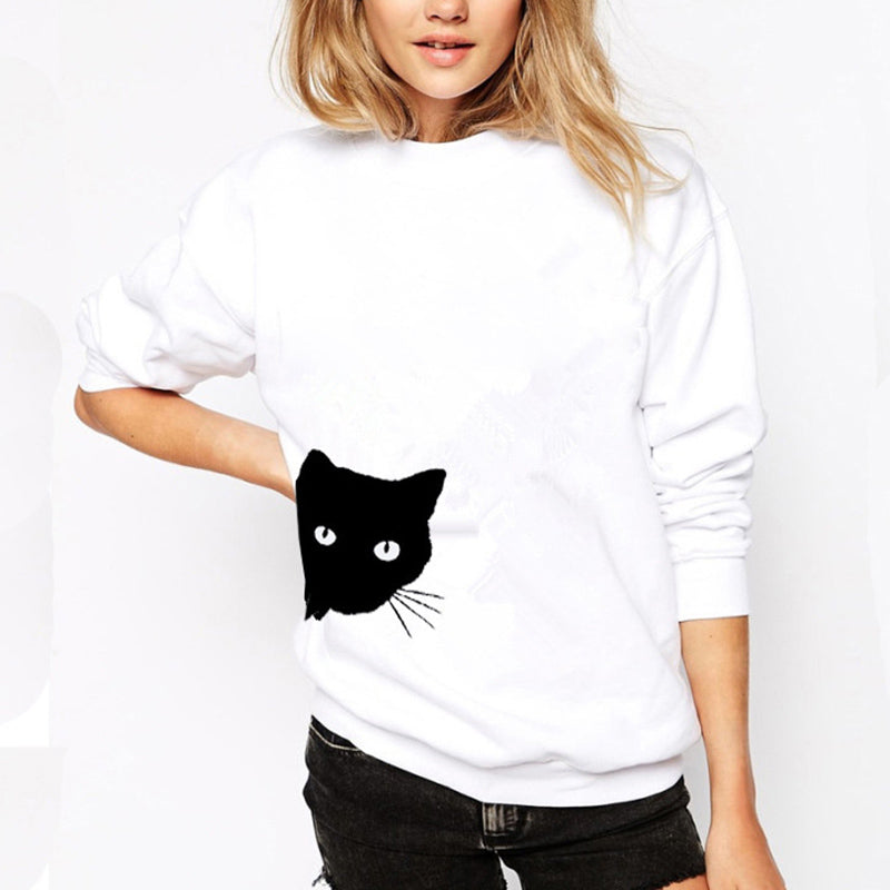 Casual Cat Head Print Loose Round Neck Long Sleeve Female  Sweatshirt