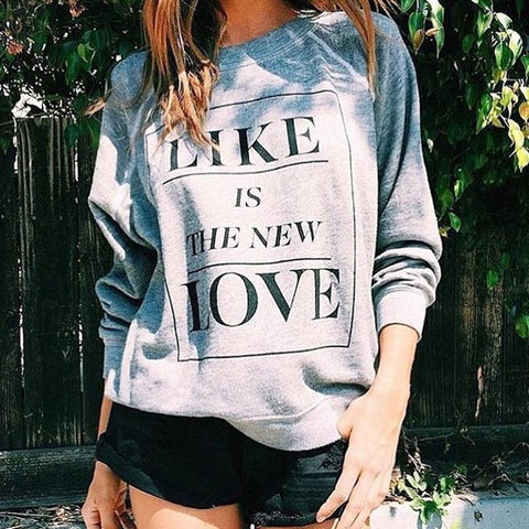 Fashion Casual Round Neck Letter Print Long Sleeves Sweatshirt