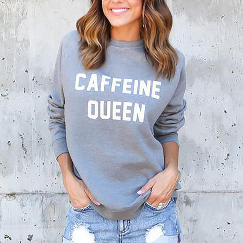 Casual Round Neck Letter Printed Colour Sweatshirt