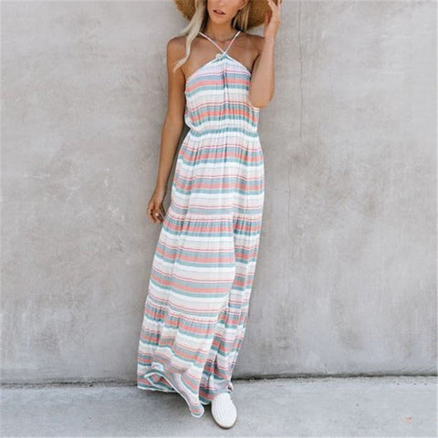 Women's Fashion Hanging Neck Striped Dress