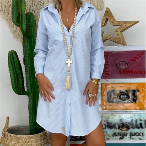 Folded Collar Irregular Hem Shirt Dress