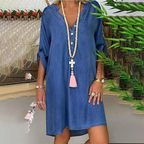 Casual V Neck Button Denim Midi Dress