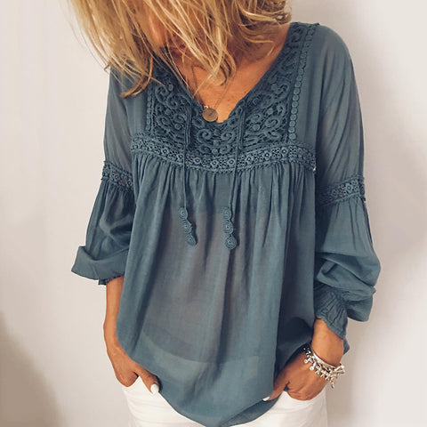 Casual V-Neck Puff Sleeves Solid Color Shirt
