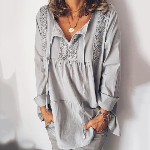 Casual Lace V-Neck Long Sleeve Solid Color Shirt