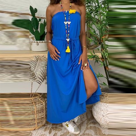 Design Pure Colour Off-Shoulder Slit Dress