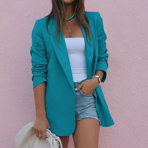 Formal Turndown Collar Long Sleeve Blazer
