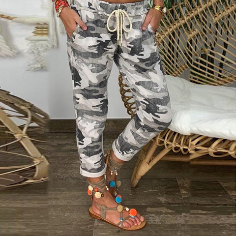 Casual Camouflage Drawstring Slim Trousers