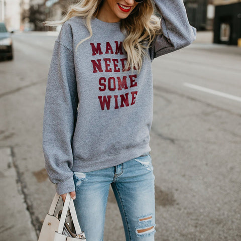Casual Round Neck Long Sleeve Letters Sweatshirt
