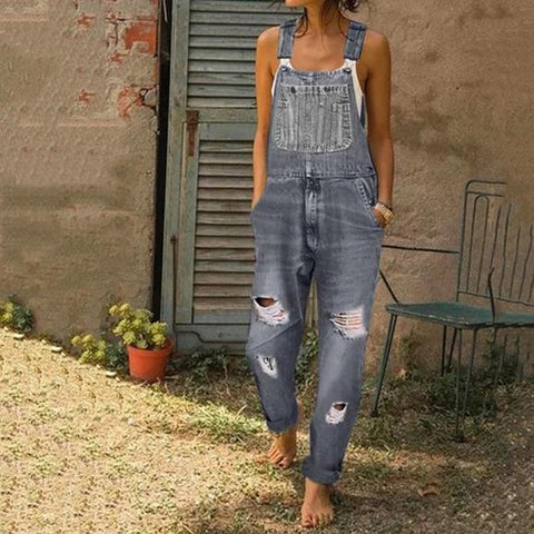 Casual Sling Pure Colour Broken Hole Jeans Jumpsuits
