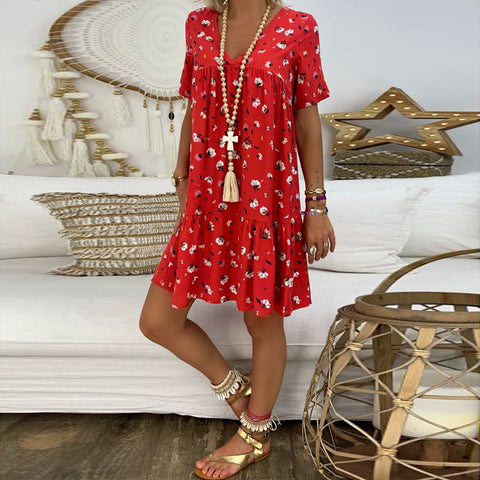 Daily Casual Short Sleeves Deep V Floral Printed Dress