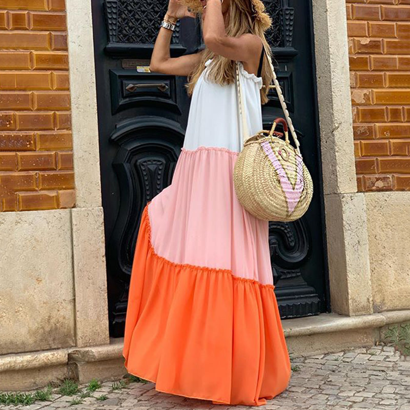 Sweet Color Matching Stitching Ruffles Big Swing Dress