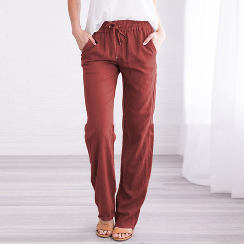 Casual Straps Solid Color Wild Wide Leg Pants