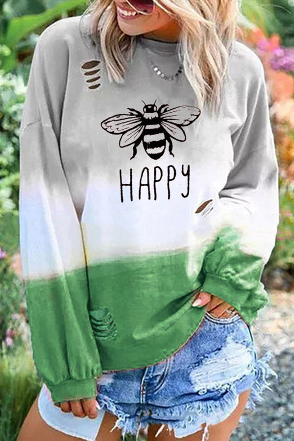 Casual Round Neck Long Sleeve Broken Holes Printed Colour T-Shirt