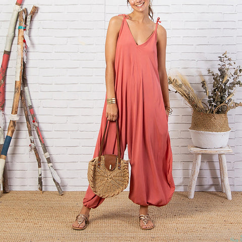 Casual V Neck Sleeveless Solid Color Jumpsuits