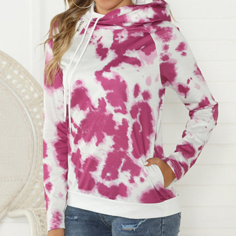 Fashion Casual Hooded Long Sleeves Tie Dyed Sweatshirt