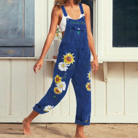 Casual Print Flower Sleeveless Overall Denim Jeans Jumpsuit