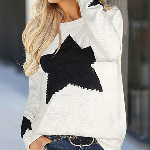 Casual Round Neck Star Printed Colour Long Sleeve Sweater
