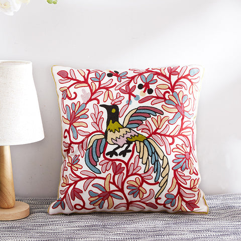 Pastoral Flower Embroidered Cotton Cushion Pillowcase