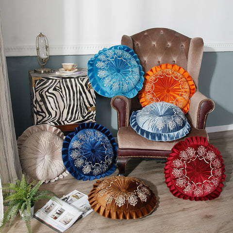 Vintage Embroidered Ruffled Round Shape Pillow