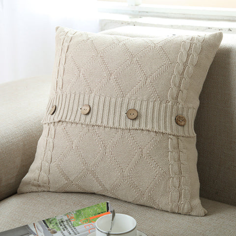 Fashion Contracted Style Pure Color Knitting Pillowcase