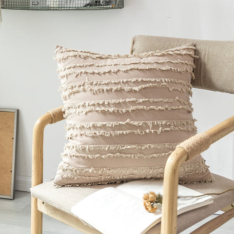 Contracted Lace Cotton And Linen Pure Color Pillow