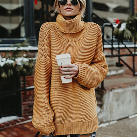 Casual Pure Color Long Sleeve High Neck Sweater