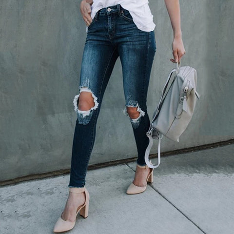 Slim And Slim Jeans With Ripped Feet