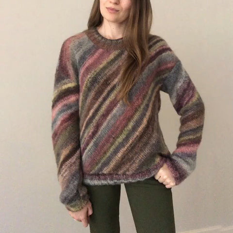 Color Striped Round Neck Sweater