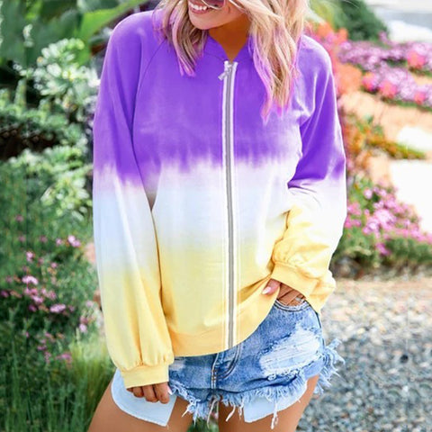 Sweet Long Sleeve Gradient Tie Dyed Printed Colour Jackets