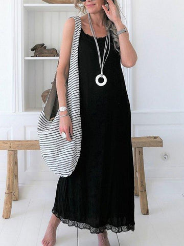 Plus Size Casual Solid Sleeveless Maxi Dress