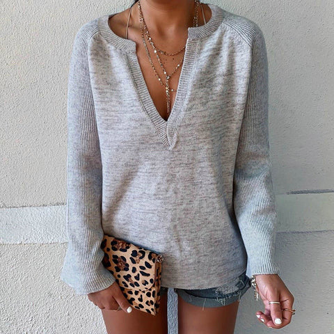 Casual Solid Color V-neck Loose Long-sleeved Sweater Shirt