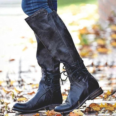 Women's Round Head With Warm Low Heel Martin Boots