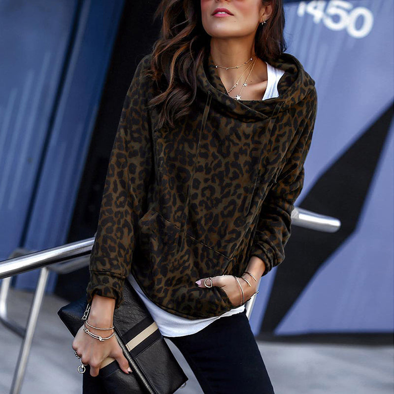 Casual Leopard Pocket Hooded Long Sleeve Sweatshirt