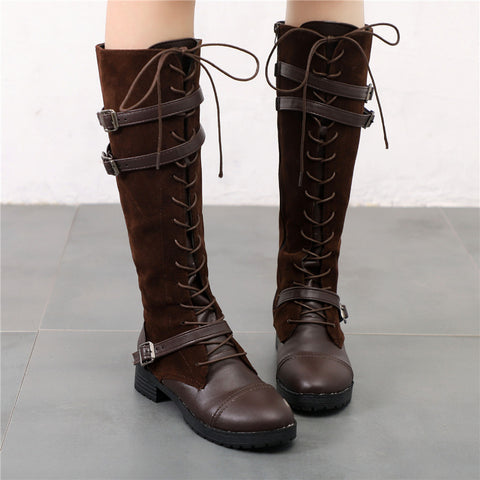 Women's Stitching Buckle Side Zipper Lace-Up Boots