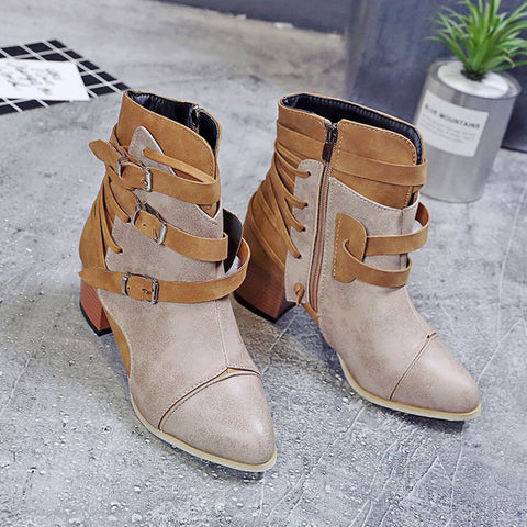 Vintage Belt Mid Heel Colouring Side Zipper Boots